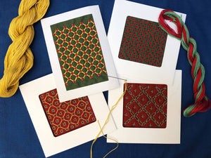 Hand-embroidered Hitomezashi Sashiko greeting card YI CRAFTS