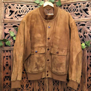 Men's Suede Tan Bomber Jacket - Medium