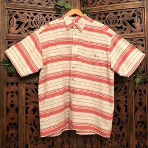 Men's Vintage Short Sleeved Striped Shirt - Large