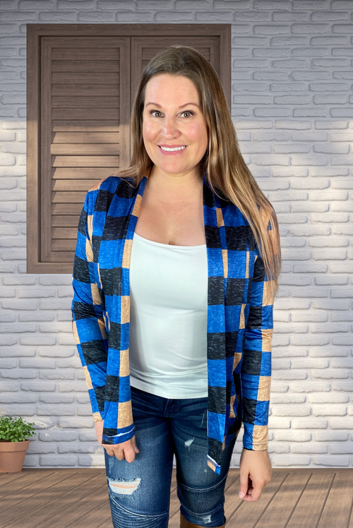 Lightweight Tartan Cardigan in Blue