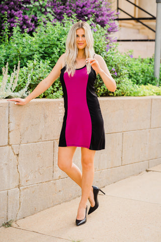 Vertical Color Block Racerback Dress in Magenta
