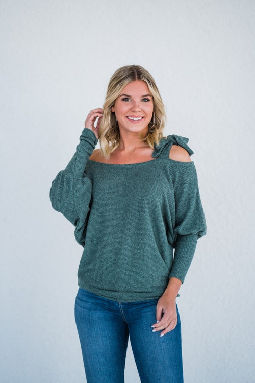 Tie Shoulder Sweater in Green