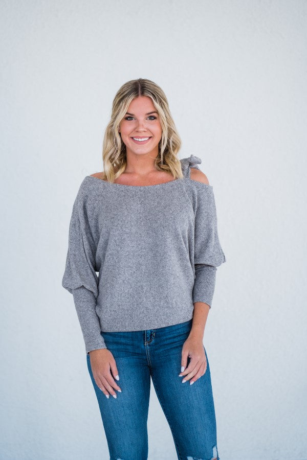 Tie Shoulder Sweater in Oatmeal