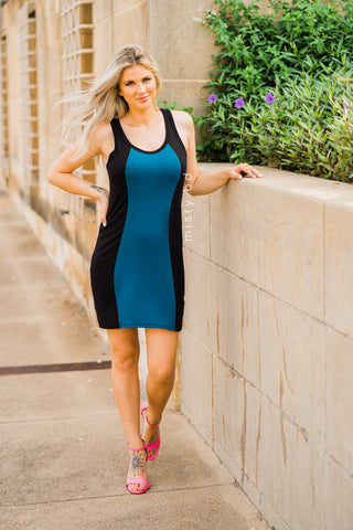 Vertical Color Block Racerback Dress in Teal