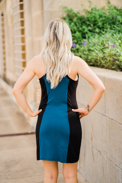 Vertical Color Block Racerback Dress in Teal: S-L