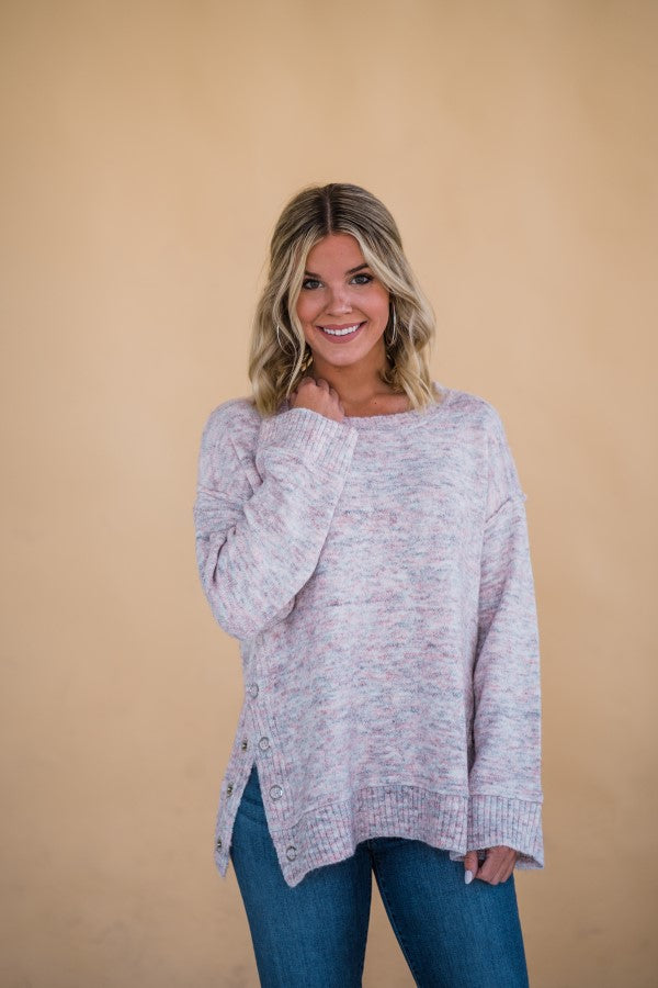 Side Snap Sweater in Pink