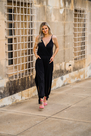 Peep Leg Jumpsuit in Black