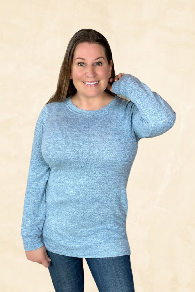 Long Sleeve Pocket Top in Heather Blue - Pack