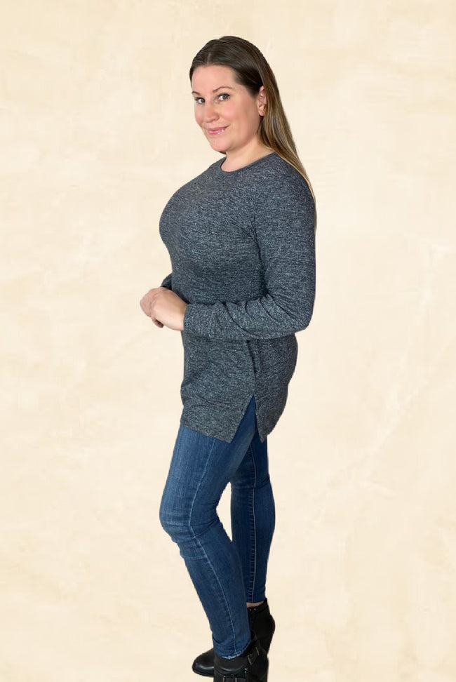 Long Sleeve Pocket Top in Heather Grey - Pack