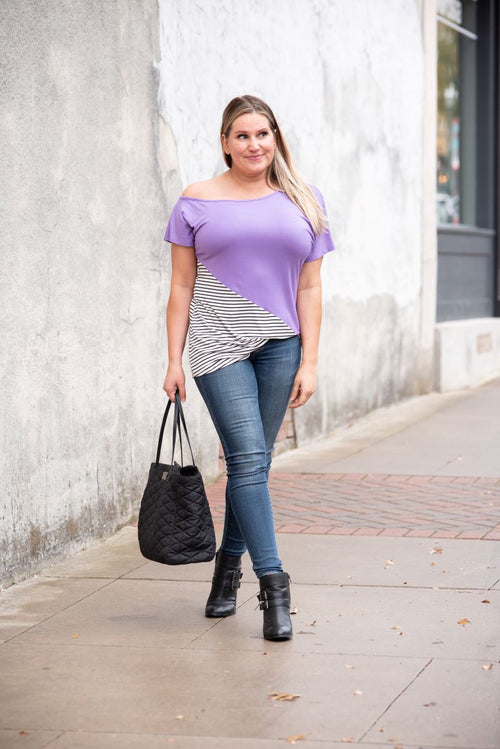 Solid & Stripes One Shoulder Top in Lavender - S-3X
