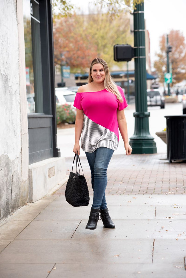 Solid & Stripes One Shoulder Top in Fuchsia
