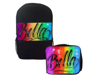 Rainbow Script Style Kids Backpack and Lunchbox Combo (Combo2)