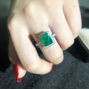 Luxury Premium Quality Emerald Ring for Women with Sterling Silver Wedding Engagement Anniversary Cocktail Party Ring