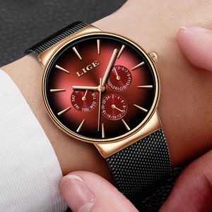 Luxury Watches For Men Top Brand Quartz Watch Mesh Stainless Steel Waterproof Ultra-thin Wristwatch New Fashion Gifts