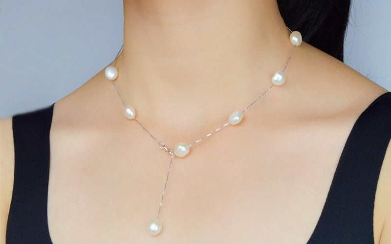Premium Natural Freshwater Pearl Pendant Necklace with 925 Sterling Silver Gray White Baroque pearl Jewelry for Women