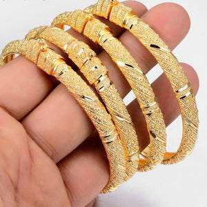 Luxury Trendy 24K Gold Color Bangle for Women/Girl Special Dubai Wedding Bride Bracelet Ramadan Middle East Jewelry