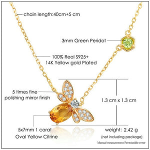 Beautiful 14K Gold Plated Natural Citrine Gemstone Necklaces 925 Sterling Silver Chain Pendant Jewelry