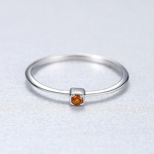 Genuine Topaz Engagement Rings with 925 Sterling Silver for Women Stylish Thin Circle Design Gemstone Ring