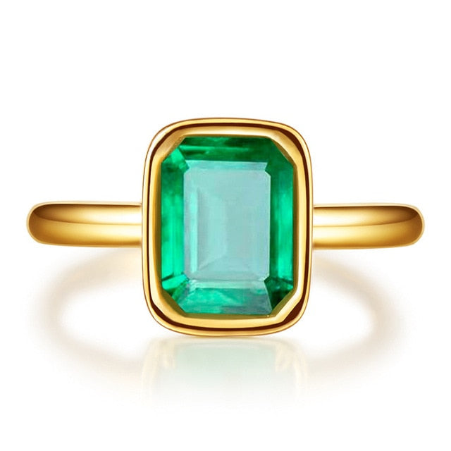 Gorgeous 18K Gold Color Emerald Ring for Women Vintage Real 925 Sterling Silver Ring Great Gifts For Her