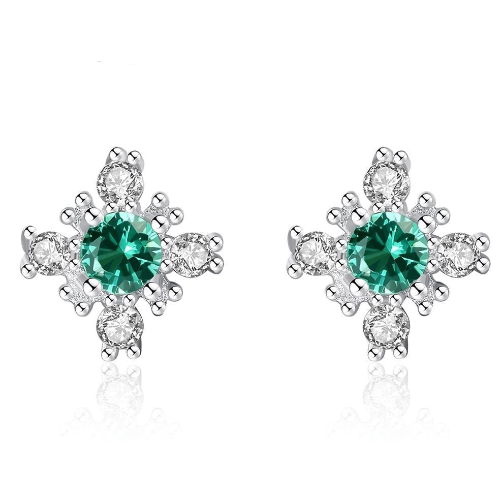 Stunning Russian Emerald Snowflake Stud Earrings 925 Sterling Silver Earring For Women Gemstone Jewelry Gifts