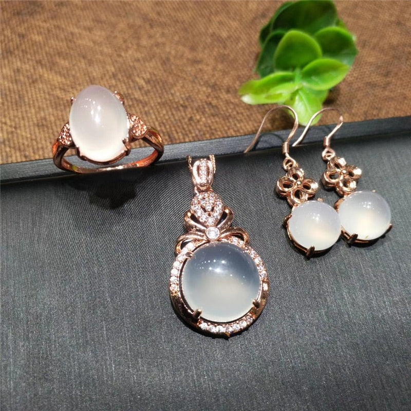 Stunning 3pcs Classic White Chalcedony Jade Jewelry Sets Rose Gold Sterling Silver 925 Women Jewelry Set Party Jewelry Gifts 2020