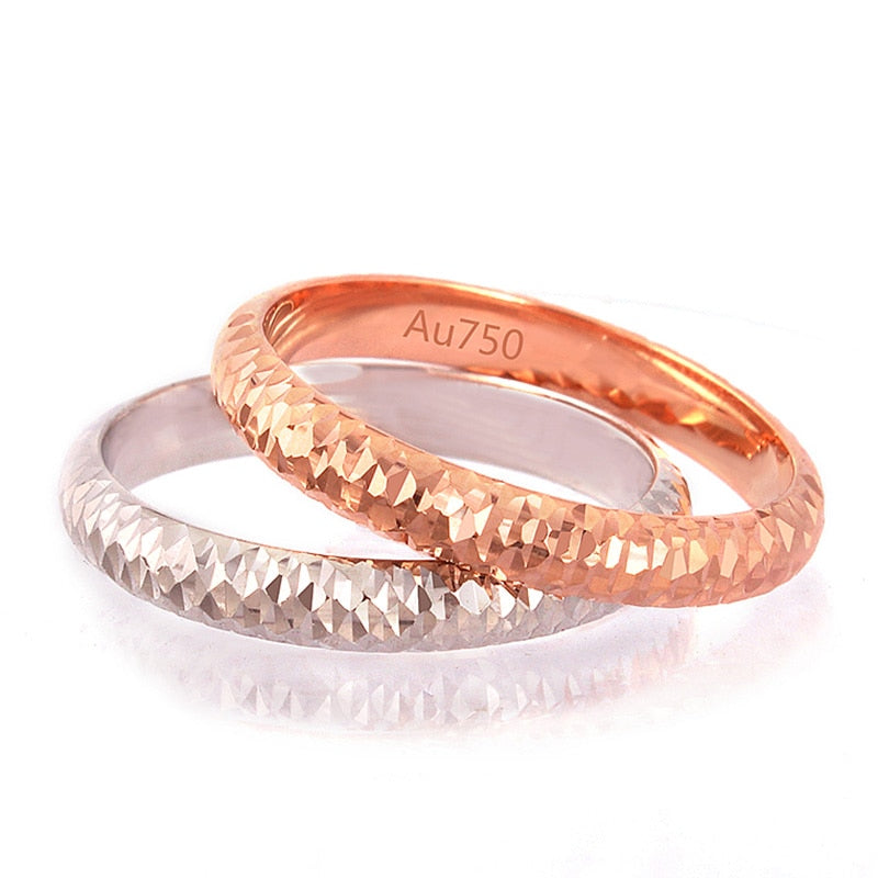 18k Pure Gold Ring For Men And Women Rose Or White Lover Wedding Engagement Rings Fine Jewelry