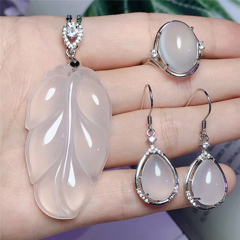 Gorgeous Jadery Charms Natural White Leaf Chalcedony Jade Jewelry Sets For Women 925 Sterling Silver Necklace/Earrings/Ring  2020 Gifts