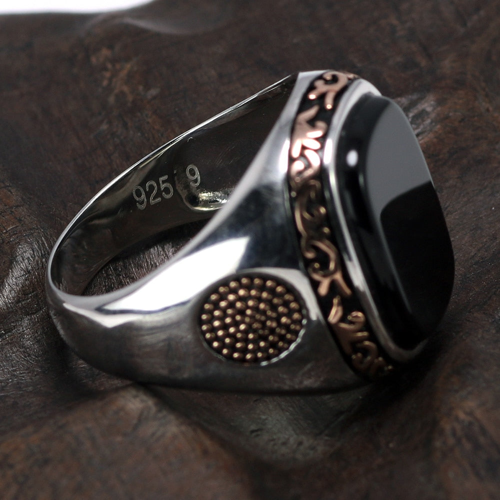 Gorgeous Natural High Quality Onyx Gemstone Vintage Men's Ring with Real 925 Sterling Silver