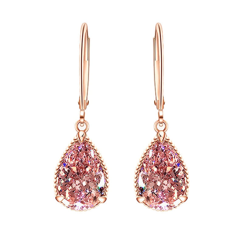Beautiful 14k Rose Gold Color Water Drop Female Earring With Pink Topaz Gemstone Stylish Design