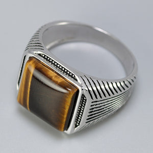 Authentic Sterling Silver 925 Man Ring With Tiger Eyes Fine Jewelry Stripe Pattern Natural Stone Cool Ring for Men
