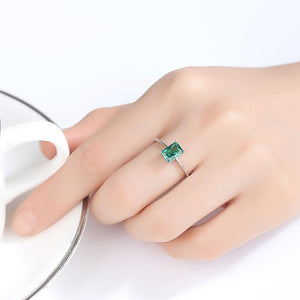Stunning Green Emerald Ring With 925 Sterling Silver For Women Green Gemstone Ring Jewelry Gifts