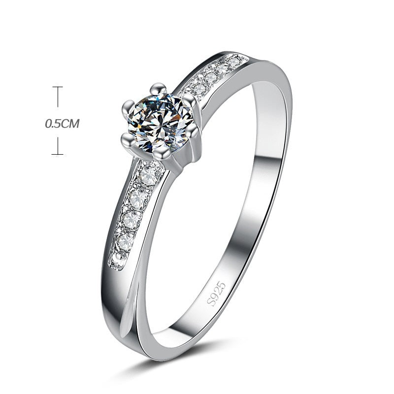 Super shinning zircon 925 sterling silver wedding rings for women dream jewelry gift