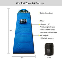 Load image into Gallery viewer, 3 Seasons Sleeping Bag Blue P Series