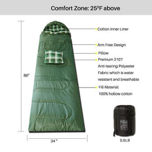 Load image into Gallery viewer, 3 Seasons Sleeping Bag Olive Green P Series