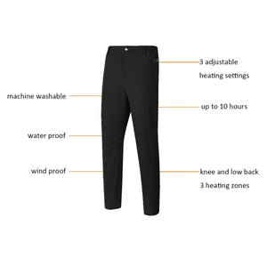 Black 3 Heating Zones Man Pants with battery