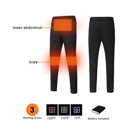 Black 3 Heating Zones Women Pants