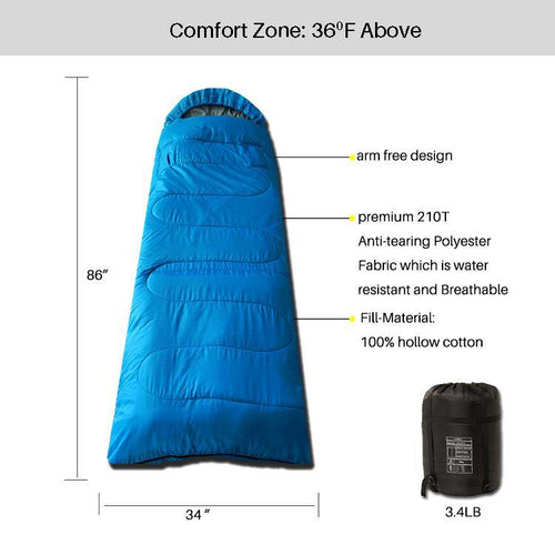 3 Seasons Sleeping Bag Light Blue Standard Series