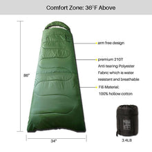Load image into Gallery viewer, 3 Seasons Sleeping Bag Olive Green Standard Series