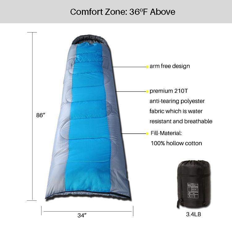3 Seasons Sleeping Bag Blue and Gray-Standard Series
