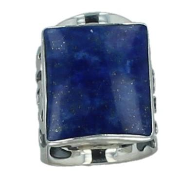 Multi Stone Adjustable Laps Lazuli and Coral Fossil Silver Ring