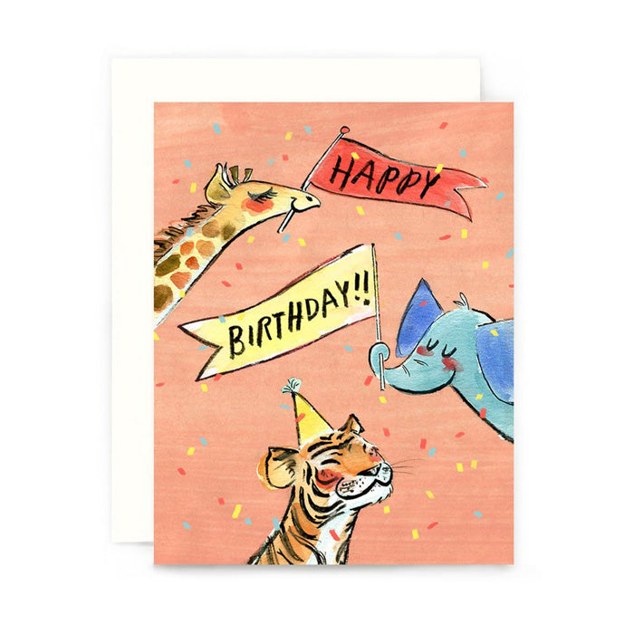Birthday Party Animals Card by Genevieve Santos from Leanna Lin's Wonderland