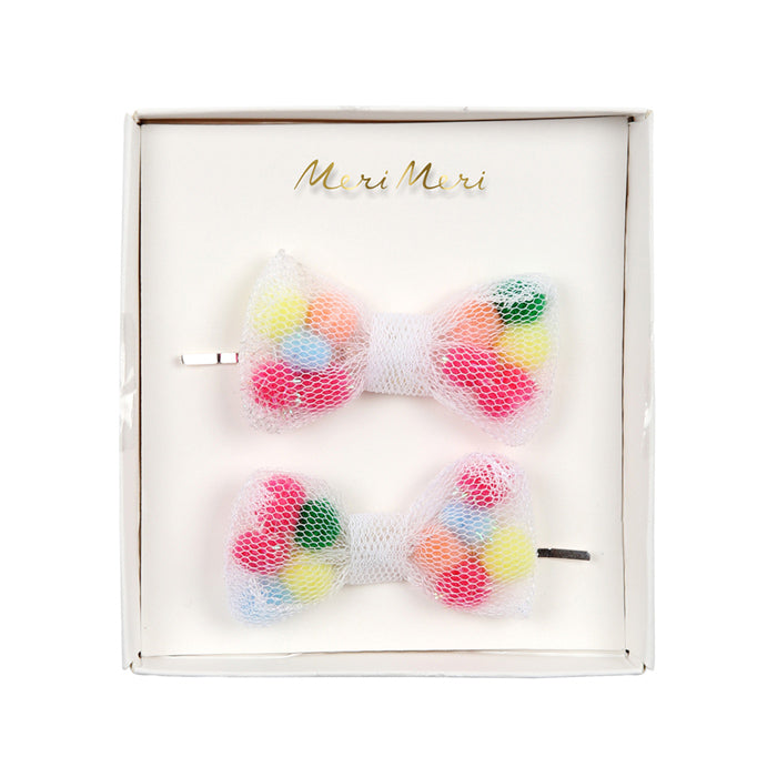 Pom Pom Bow Hair Pins