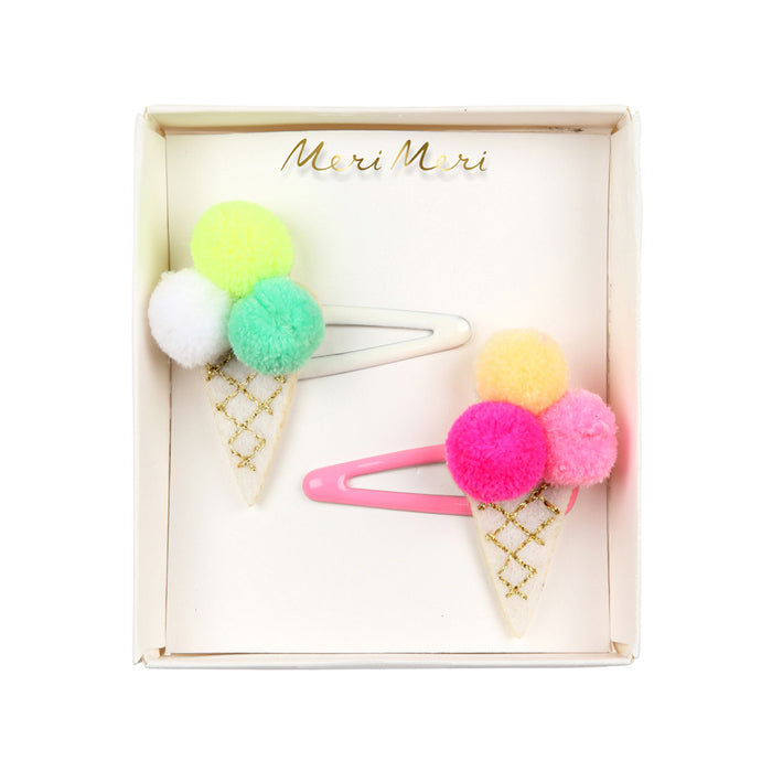Pom Pom Ice Cream Hair Clips by Meri Meri from Leanna Lin's Wonderland