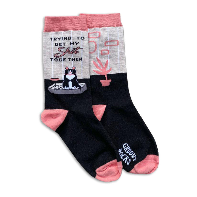 Trying Cat Womens Crew Socks