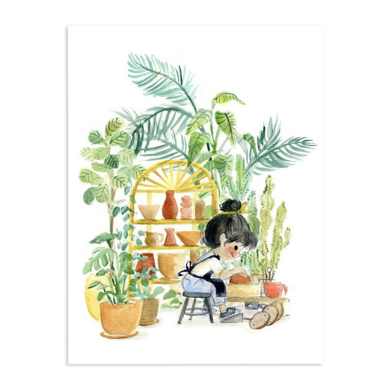 Genevieve Santos: Plants and Pottery Print