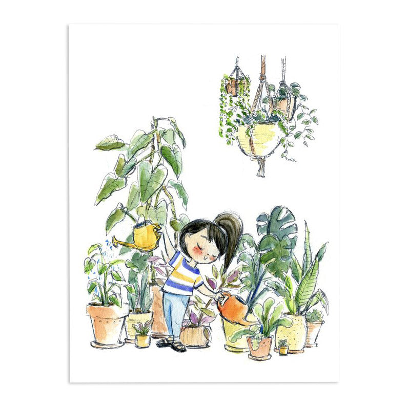 Genevieve Santos: Watering the Plants Print