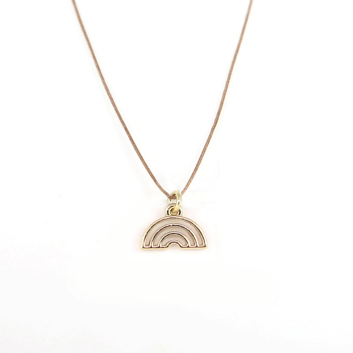 New Moon Gold Necklace: Rainbow by Lucky Feather from Leanna Lin's Wonderland