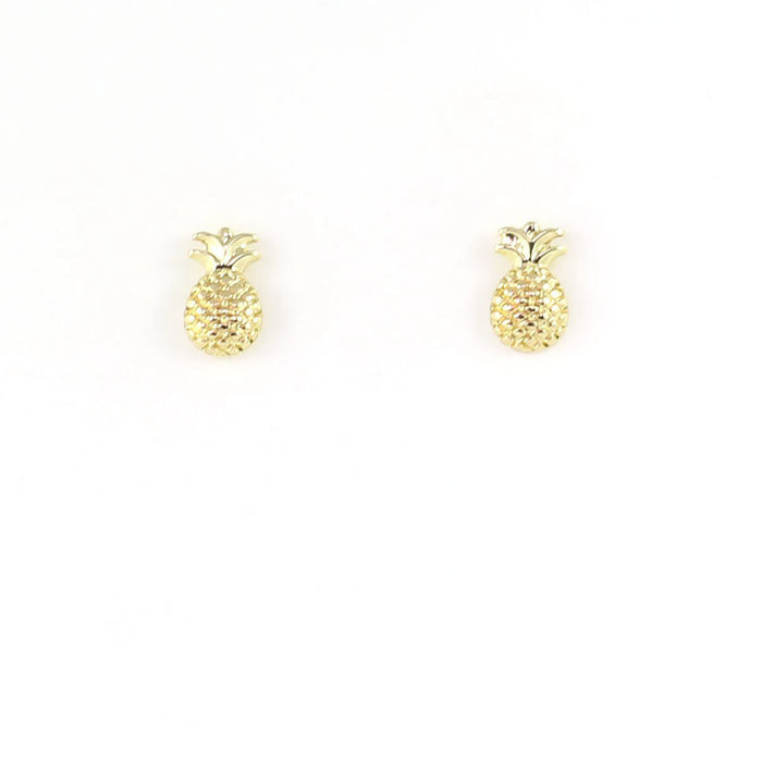 New Moon Gold Earrings: Pineapple by Lucky Feather from Leanna Lin's Wonderland