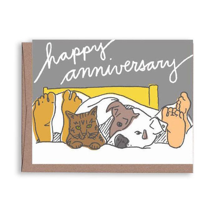 Pets in Bed Anniversary Card by La Familia Green from Leanna Lin's Wonderland
