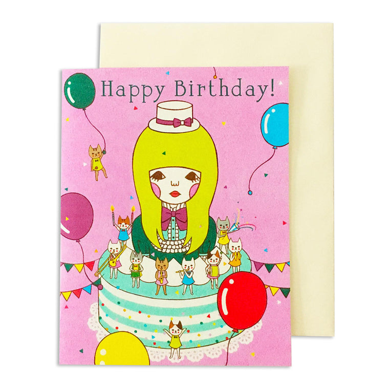 Happy Bday Wonderland Cake Card
